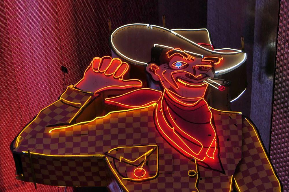 Vegas Vic Neon Cowboy in Downtown Las Vegas
